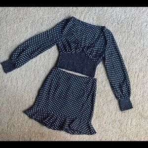 Puff Sleeve Polka Dot Top & Ruffle Hem Skirt Set